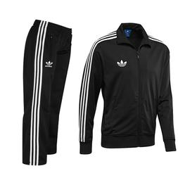 ADIDAS MENS FIREBIRD FULL TRACKSUIT TOP AND BOTTOMS BLACK/WH