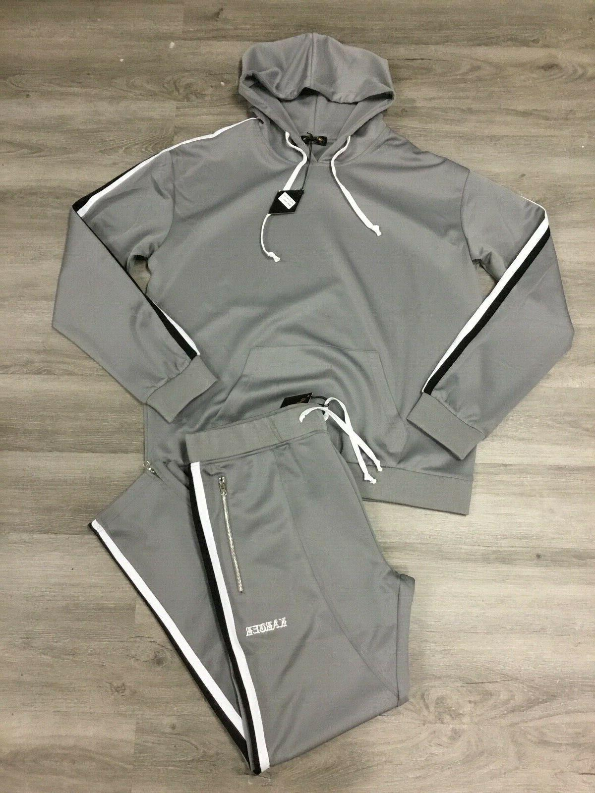 mens gray two piece tracksuit size xl