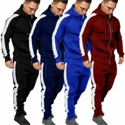 Men Plain Tracksuits Zip Sweatershirt Hoodies Coats + Trouse