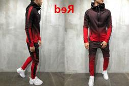 Men's Athletic Casual 2 Piece Tracksuit Pants Hooded Jacket