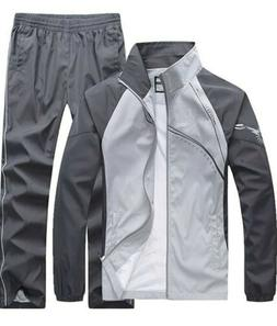 Men's Fitted Exercise Tracksuit Set 2 Pieces Full-Zip Casual