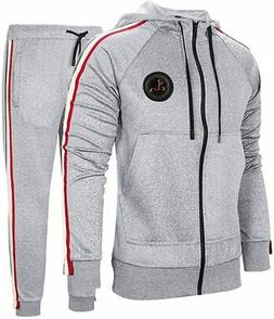 DUOFIER Men's Hooded Athletic Tracksuit Casual Full Zip Jogg