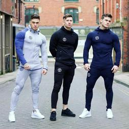 Men's Hooded Collar Stretchable Top And Sweatpants Sports Tr