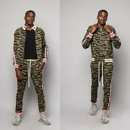Men's Tiger Camo Track Suit Set with Waistband Track Pants &