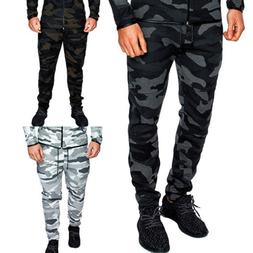 Mens Camouflage Camo Jogging Pants Tracksuit Running Trouser