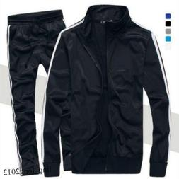 Mens Running Sports Suits Zip Down Coat Long Pants Gym Track