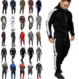 Mens Tracksuit Set Camo Hoodie Sweatshirt Pants Jogger Gym J