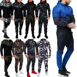 Mens Tracksuit Set Camo Hoodie Top & Bottoms Joggers Gym Con