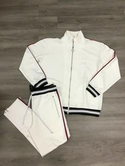 KARTER COLLECTION MENS WHITE TWO PIECE TRACKSUIT SIZE 3XL NE