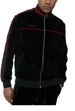 NEW Sean John Men's Black Velour Tracksuit Jacket with Red P