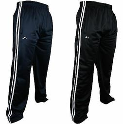 New Mens Tracksuit Bottoms Striped Silky Casual Gym Jogging