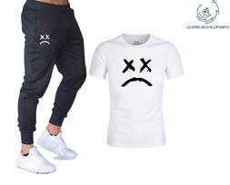 Sad Marshmello T shirts + Pants Two Pieces Sets Casual Track